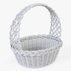 Wicker Basket 04 (White Color) 3D Model