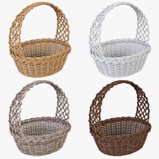 Wicker Basket 04 Set 4 Color 3D Model