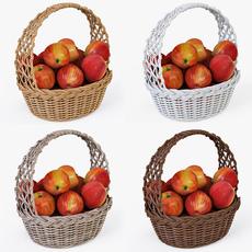 Wicker Basket 04 Set 4 Color with Apples 3D Model