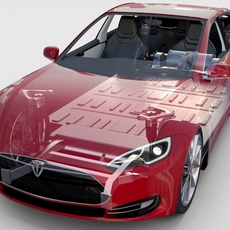 Tesla Model S with chassis-interior rev 3D Model