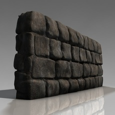 Detailed low poly stone wall 3D Model