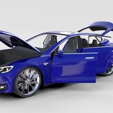 Tesla Model S with interior rev 3D Model