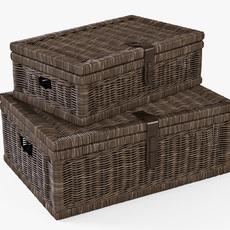 Wicker Basket 06 Walnut Brown Color 3D Model