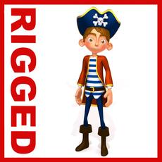Pirate boy Cartoon Rigged 3D Model