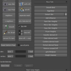skinning tool for Maya 0.3.9 (maya script)