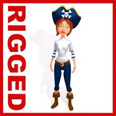 Pirate woman Cartoon Rigged 3D Model