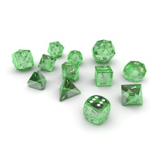 Polyhedral Dice Set - Green Glass 3D Model