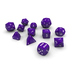 Polyhedral Dice Set - Purple 3D Model