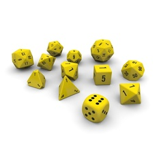 Polyhedral Dice Set - Yellow 3D Model