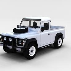 Land Rover Defender 90 Pick Up w interior rev 3D Model