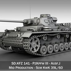 SD.KFZ 141 PzKpfw 3 - Panzer 3 Ausf.J 3D Model