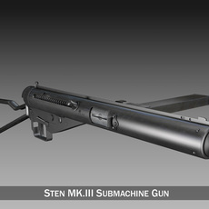 Sten MK.III Submachine Gun 3D Model