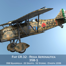 Fiat CR.32 - Italy Airforce - 358 Squadriglia 3D Model