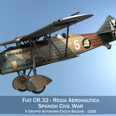 Fiat CR.32 - Italy Air Force - X Gruppo 3D Model