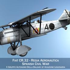 Fiat CR.32 - Italy Air Force - Gruppo Baleari 3D Model