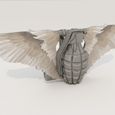 Belt buckle (hand grenade with wings) 3D Model