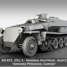 SD.KFZ 251/1 Ausf.C - Hanomag Halftruck 3D Model