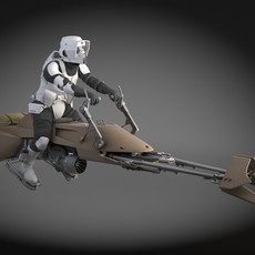 Star Wars Scout trooper with Bike 3D Model