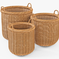 Wicker Basket 07 Toasted Oat Color 3D Model