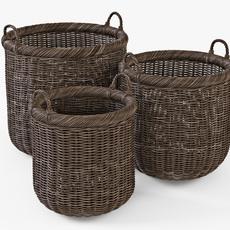 Wicker Basket 07 Walnut Brown Color 3D Model
