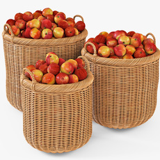 Wicker Basket 07 Toasted Oat Color with Apples 3D Model