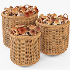Wicker Basket 07 Toasted Oat Color with Mushrooms 3D Model
