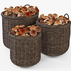 Wicker Basket 07 Walnut Brown Color with Mushrooms 3D Model