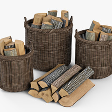 Wicker Basket 07 Walnut Brown Color with Firewood 3D Model