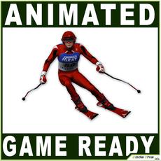 White Skier 16194 tris 3D Model