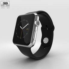 Apple Watch 42mm Stainless Steel Case Black Sport Band 3D Model
