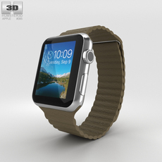 Apple Watch 42mm Stainless Steel Case Brown Leather Loop 3D Model