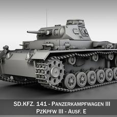SD.KFZ 141 PzKpfw 3 - Panzer 3 Ausf.E 3D Model