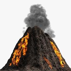 Low poly volcano 3D Model