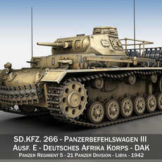 PzBefWg III - Panzerbefehlswagen 3 - Ausf.E - DAK 3D Model