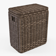 Wicker Laundry Hamper 08 Brown Color 3D Model