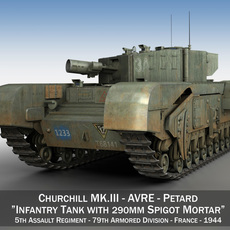 Churchill MK.III AVRE 3D Model