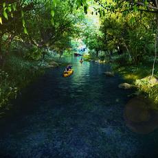 Riparian Landscape Animated sence 3 3D Model