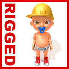 Worker baby Cartoon Rigged 3D Model
