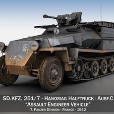 SD.KFZ.251/7 Ausf.C - Assault Engineer Vehicle - 7PD 3D Model