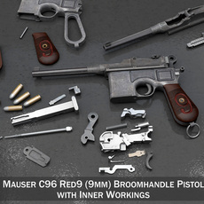 Mauser C96 Broomhandle - M1916 - Red 9 3D Model