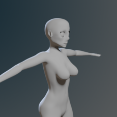 Low Poly Base Mesh Anime Female 3D Model