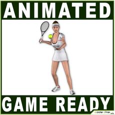 White Female Tennis Player 9840 tris 3D Model