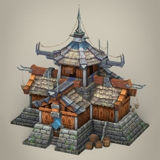 Game Ready Fantasy Medieval House 3D Model