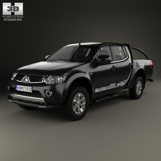 Mitsubishi L200 Triton Barbarian Black 2012 3D Model