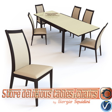 Chair CORTINA & Table NEW SMART G/4704-V dining set OLIVO & GODEASSI 3D Model
