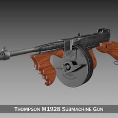 Thompson Model 1928 Submachine Gun 3D Model