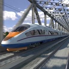 Hi-speed Electric Train Sapsan Siemens Velaro RUS 3D Model