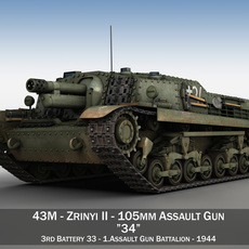 43M Zrinyi II - Hungarian Assault Gun - 3rd Battery 34 3D Model