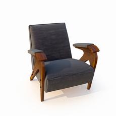 armchair velvet coating 3D Model