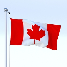 Animated Canadian Flag 3D Model